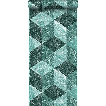 papier peint motif marbre 3D vert émeraude