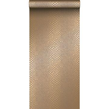 papier peint peau de serpent brun cuivré brillant
