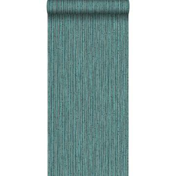 papier peint bambou bleu canard
