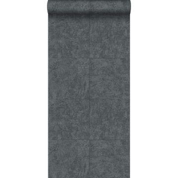papier peint brique gris foncé