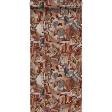 papier peint motif figurativ brun rouille