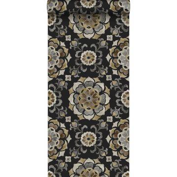 papier peint fleurs suzani noir
