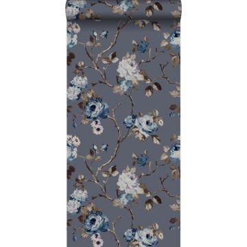 papier peint fleurs vintage bleu et taupe