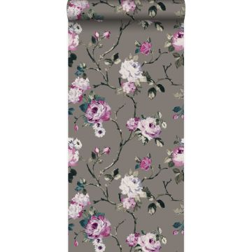 papier peint fleurs taupe et lilas violet