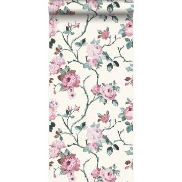 papier peint fleurs blanc et rose clair