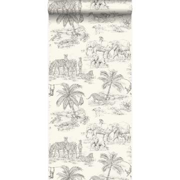 papier peint jungle blanc d'ivoire et gris