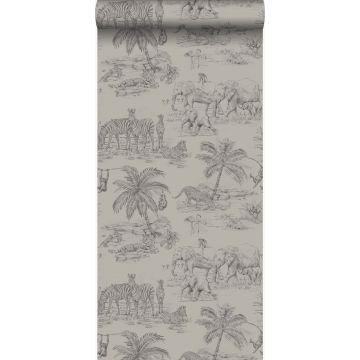 papier peint jungle gris argileux
