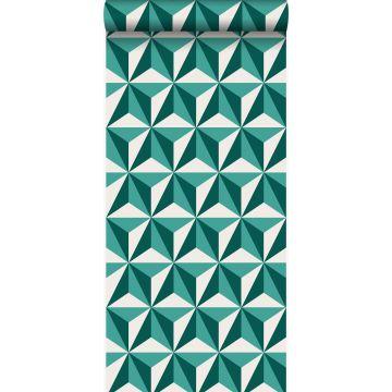 papier peint graphique 3D vert émeraude