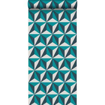 papier peint graphique 3D turquoise