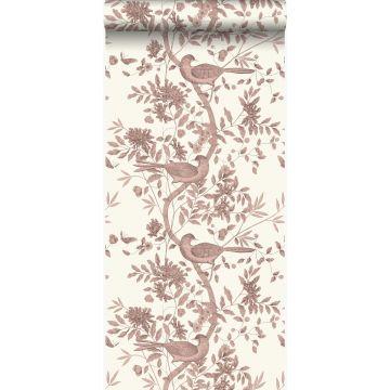papier peint oiseaux blanc d'ivoire et brun cuivré brillant