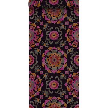 papier peint fleurs suzani noir, orange et rose