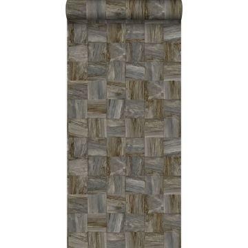 PP intissé éco texture morceaux carrés de déchets de bois brun foncé
