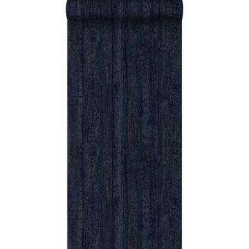 papier peint imitation bois bleu foncé
