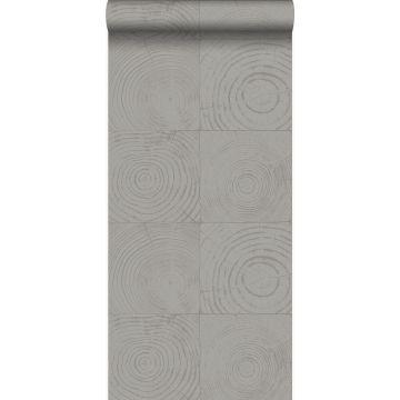 papier peint sections transversales des troncs d'arbres gris foncé