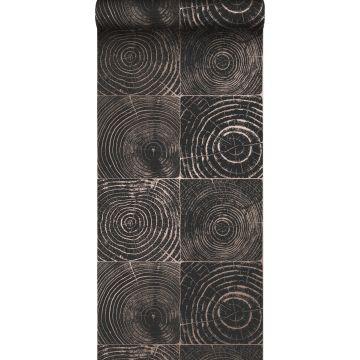 papier peint sections transversales des troncs d'arbres noir mat et bronze brillant