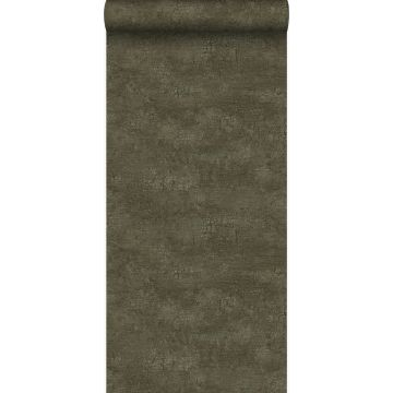 papier peint imitation pierre vert olive grisé