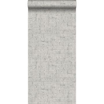 papier peint brique gris clair