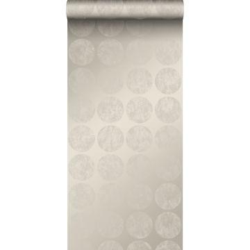 papier peint grandes sphères vieillies, altérées et touchées par les intempéries argent chaud