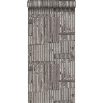 papier peint tôles ondulées en métal industrielles 3D gris foncé