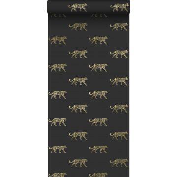 papier peint léopards noir et or
