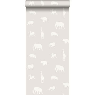 papier peint animaux gris chaud grisé brillant