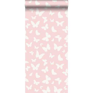 papier peint papillons rose brillant et blanc