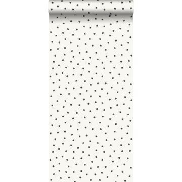papier peint à motif de points blanc brillant et noir