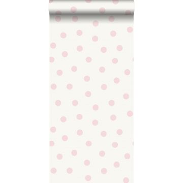papier peint à motif de petits points rose brillant et blanc