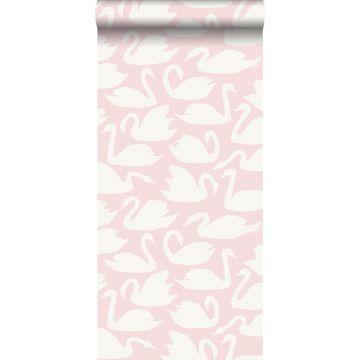 papier peint cygnes rose et blanc