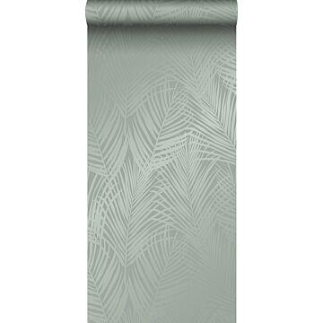 papier peint feuilles de palmier vert grisé