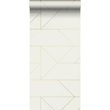 papier peint lignes graphiques beige et or