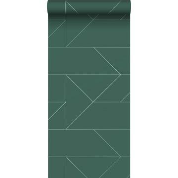 papier peint lignes graphiques vert foncé