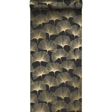 papier peint feuilles de ginkgo noir et or