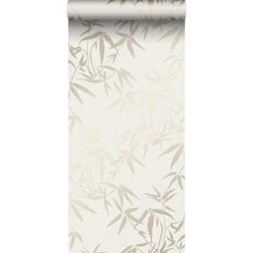 papier peint feuilles de bambou beige