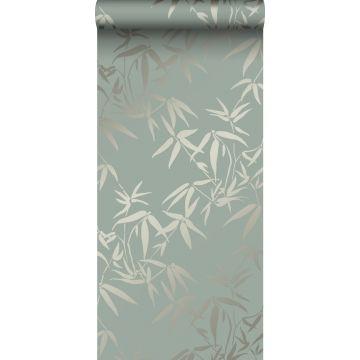 papier peint feuilles de bambou vert