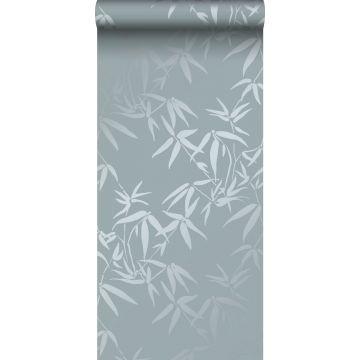 papier peint feuilles de bambou bleu