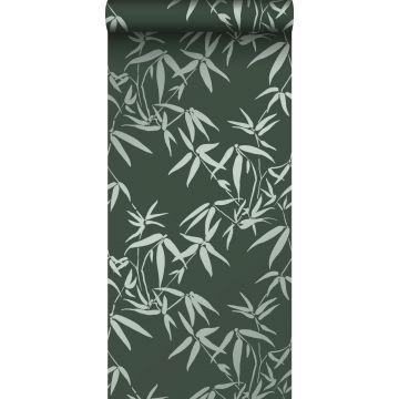 papier peint feuilles de bambou vert foncé