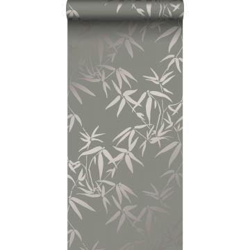 papier peint feuilles de bambou gris chaud