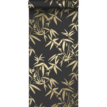 papier peint feuilles de bambou noir et or