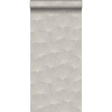 papier peint feuilles de ginkgo gris chaud grisé brillant