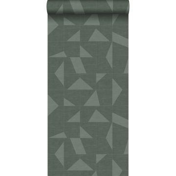 papier peint motif graphique avec structure tissée vert