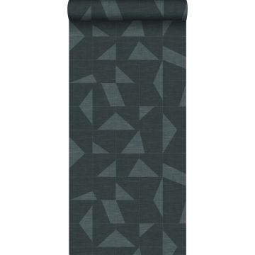 papier peint motif graphique avec structure tissée bleu gris