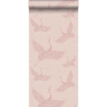 papier peint oiseaux de grue vieux rose