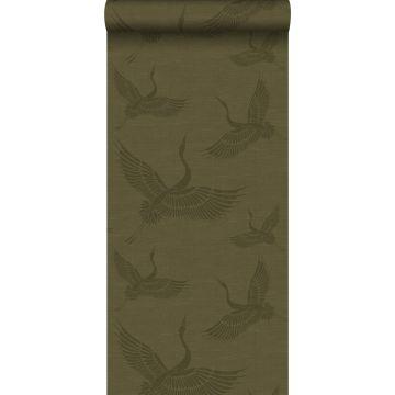 papier peint oiseaux de grue moutarde verte
