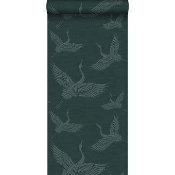 papier peint oiseaux de grue bleu canard