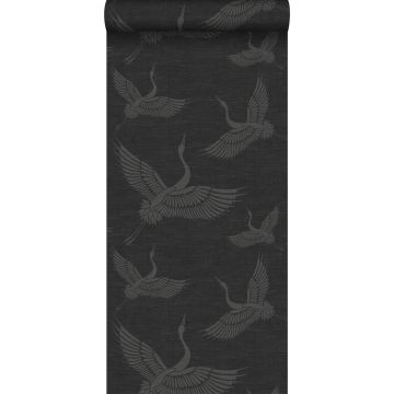 papier peint oiseaux de grue gris foncé