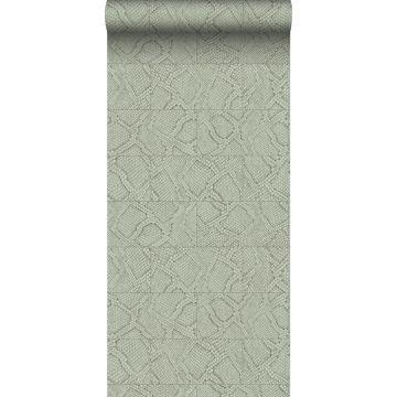 papier peint motif de carrellages avec imitation peau de serpent gris pâle