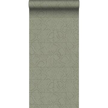 papier peint motif de carrellages avec imitation peau de serpent beige
