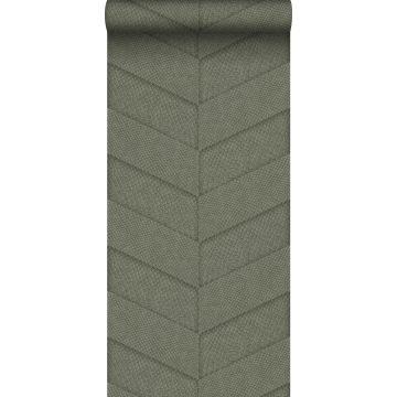 papier peint motif de carrellages avec imitation peau de serpent vert olive grisé