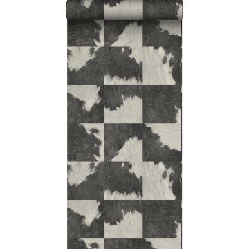 papier peint imitation peau de vache noir et blanc